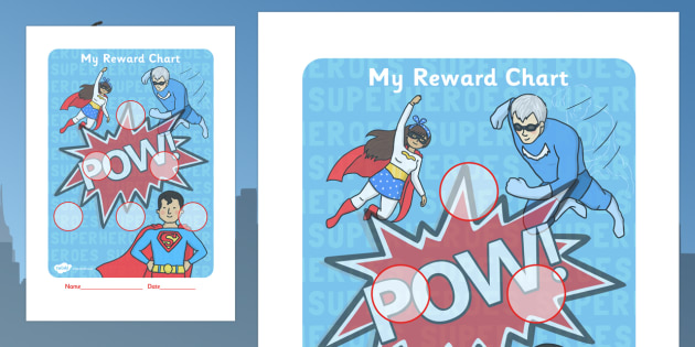 Super Heroes Themed Sticker Reward Chart 30mm - reward chart, sticker chart, sticker reward chart, super heroes reward chart, super heroes, 30mm chart