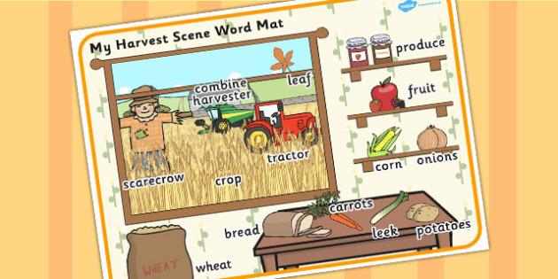Harvest Scene Word Mat - autumn, seasons, weather, visual aid