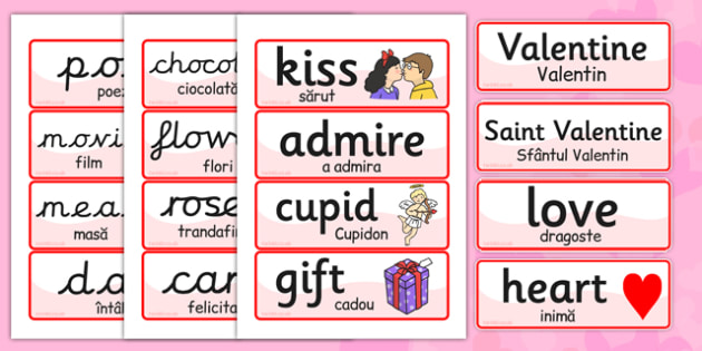 Valentines Day Word Cards EAL Romanian Translation - romanian