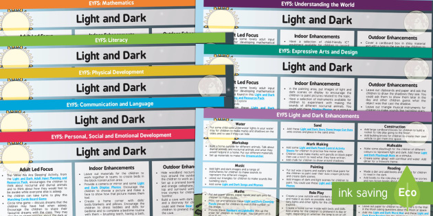 EYFS Light and Dark Lesson Plan and Enhancement Ideas EYFS - light and dark, EYFS, lessons