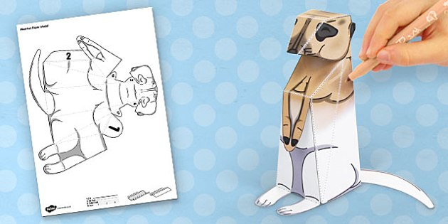 3D Meerkat Paper Model Activity - paper, animal, prop, model