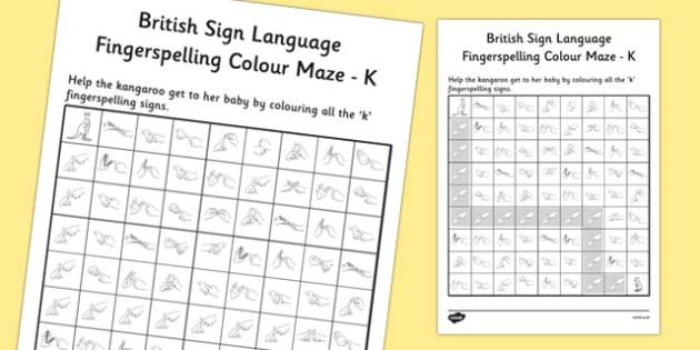 British Sign Language Left Handed Fingerspelling Colour Maze K