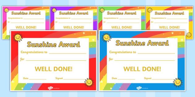 Sunshine Award Certificates - sunshine, award, certificates