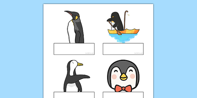 Penguin Themed Self Registration Labels - penguin, self-registration, labels, display