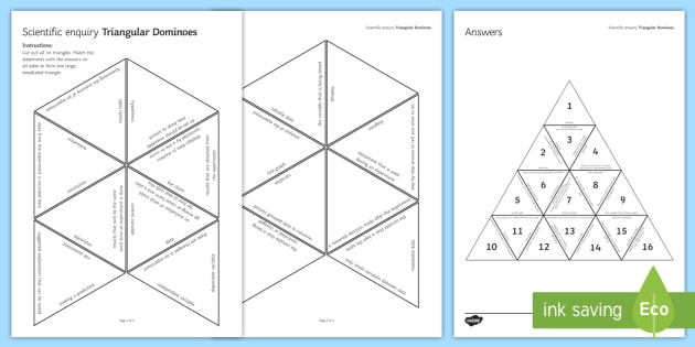 Scientific Inquiry Tarsia Triangular Dominoes - Tarsia, Dominoes, Practical, Scientific Inquiry, Method, Results, Conclusion, Evaluation, Investgati, plenary activity