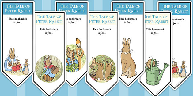 The Tale of Peter Rabbit Editable Bookmarks - bookmarks, rabbit