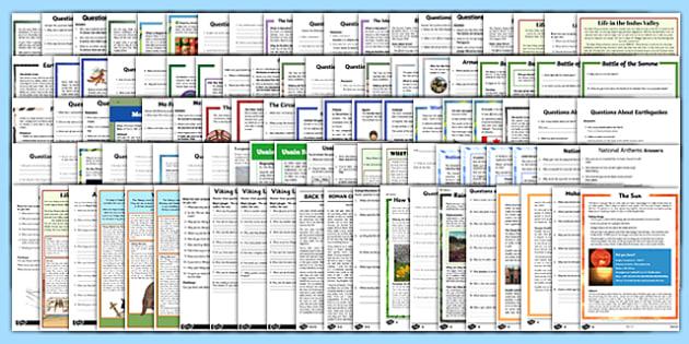 KS2 Mixed Reading Comprehensions Bumper Resource Pack