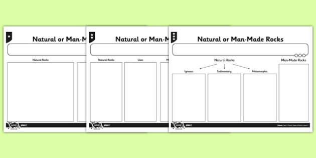 Natural or Man Made Rocks Activity Sheet - natural, man made, rocks, worksheet