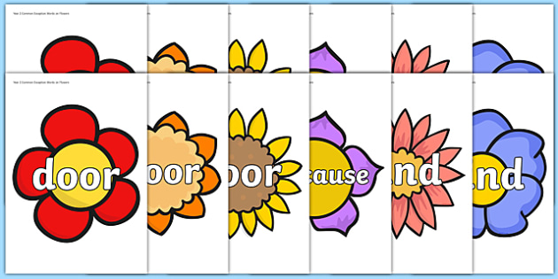 Year 2 Common Exception Words on Flowers