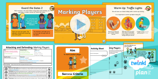 PlanIt - PE Year 1 - Attacking and Defending Lesson 2: Marking Players Lesson Pack - Attacking, Defending, mark, player, team, game, planning, PowerPoint, plans, ks1, year, 1, one, y1,