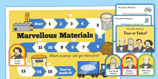 Materials and Inventors Game - inventions, pneumatic tyre, John Boyd Dunlop, materials, plastic, rubber, nylon, concrete