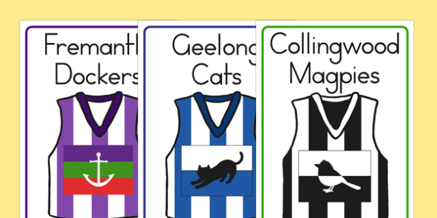 AFL Australian Football League Football Shirt Flashcards - sport