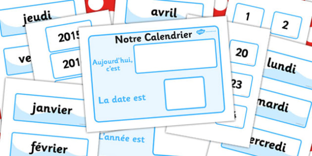 Our Classroom Calendar French Version - calendars, France, poster