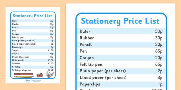 Stationary Price List - shop, stationary, pencil, paper, pens, prices, list, price list, pen, staples, ruler, rubber, stapler, crayon