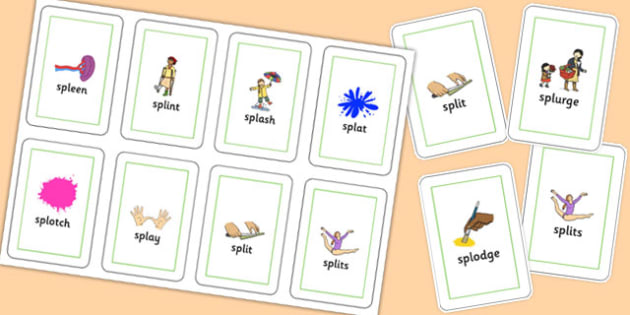 SPL Flash Cards - speech sounds, phonology, articulation, speech therapy, cluster reduction, complex clusters, three element clusters