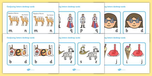 Confusing Letters Desktop Cards - education, home school, free