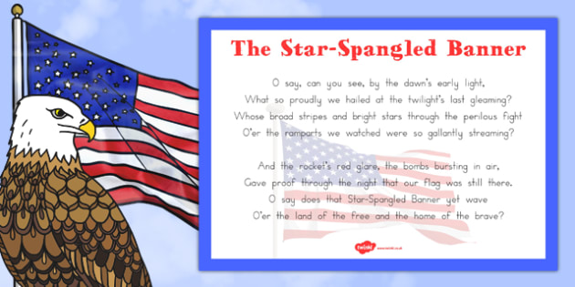 National Anthem 'The Star-Spangled Banner' Poster - us, united states, america, american, song, sing, anthem, celebrate, celebration, patriotic, patriotism, lyrics, words