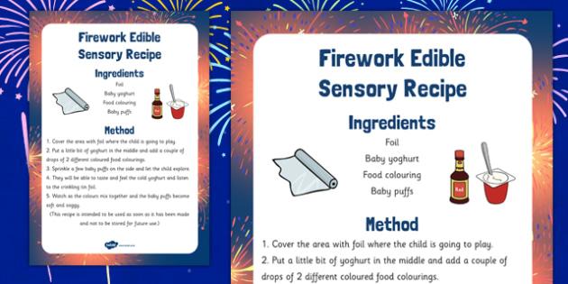 Firework Edible Sensory Recipe - firework, edible, sensory, recipe, cook, food