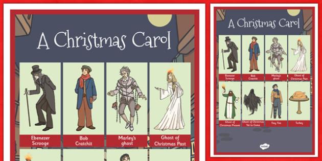 A Christmas Carol Word Grid - festivities, words, celebration, scrooge, Charles Dickens