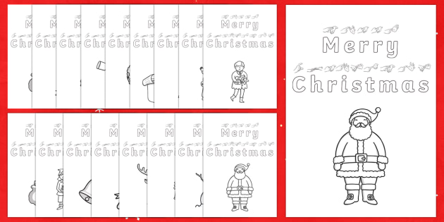 Merry Christmas BSL Christmas Colour In Card Template