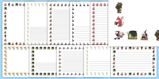 Page Borders to Support Teaching on Room on the Broom - room on the broom, page borders, writing frames, writing guide, writing template, writing aid, writing, line guide, guides