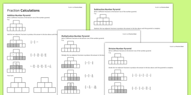 KS3_KS4 Maths Student-Led Practice Sheets Fraction Calculations - maths, KS3, KS4, GCSE, worksheet, practise, independent, growth mindset, fractions, calculations, addition, subtraction, multiplication, division, number pyramid