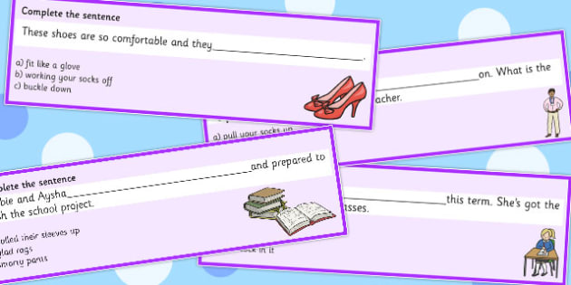 Clothes Idioms Complete The Sentence Cards - Clothes, Idioms, Meaning
