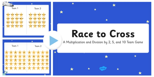 Race to Cross Multiplication and Division Game PowerPoint - race