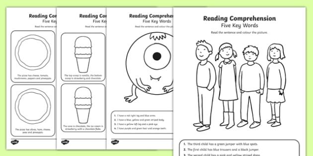 Reading Comprehension Five Key Word Activity Sheet Pack, worksheet