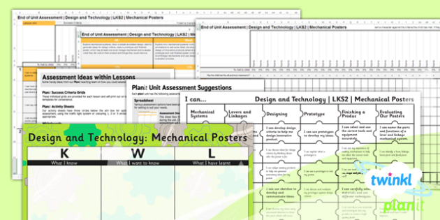 D&T: Mechanical Posters LKS2 Unit Assessment Pack