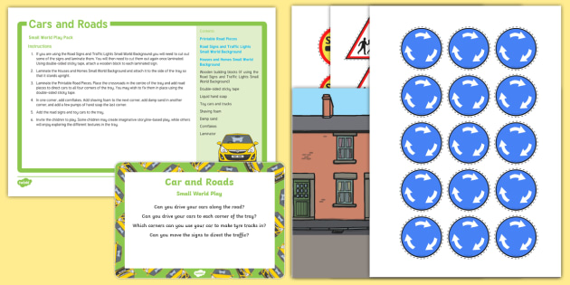 Cars and Roads Small World Play Idea and Printable Resource Pack - Transport and Travel, car, sensory play, driving, imaginary play, tuff spot, tuff tray, road,