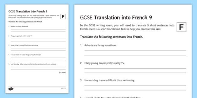 GCSE French: Translation into French -   Foundation Tier Activity Sheet 9, worksheet
