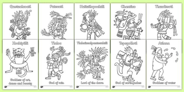 Aztec Gods Colouring Sheets People Mexican