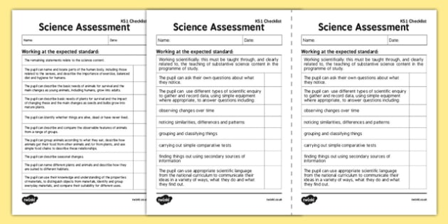 KS1 Science Exemplification Checklist - ks1, science, exemplification, checklist