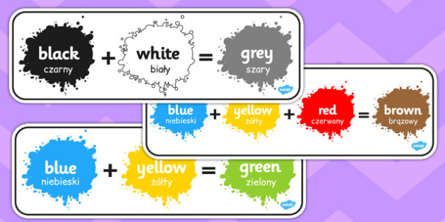 Colour Mixing Pack Polish Translation - art, mixture, shades, paints, display, facts, ks1, key stage 1, ks2, stir, order, pattern, equation, addition, add