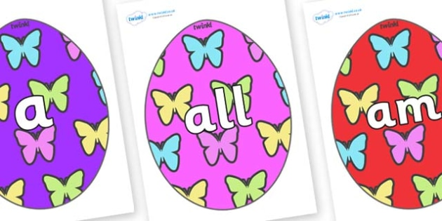 Foundation Stage 2 Keywords on Easter Eggs (Butterflies) - FS2, CLL, keywords, Communication language and literacy,  Display, Key words, high frequency words, foundation stage literacy, DfES Letters and Sounds, Letters and Sounds, spelling