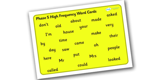 Phase 5 High Frequency Word Mat for Visually Impaired -  phase 5, high, frequency, word, mat, visually, impaired, high frequency, visually impaired