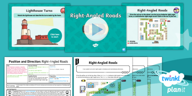 PlanIt Y2 Position and Direction  Lesson Pack Turns, Rotations and Right Angles (2) - Geometry, instruction, route, left ,right, quarter turn, half turn, three-quarter turn, full turn, c