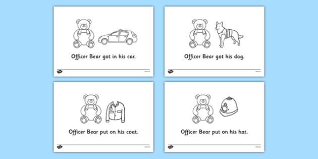 Officer Bear Story Colouring Sheets - Officer Bear, Police Officer, police station, hat, car, siren, dog, coat, light, help, save, rescue, emergency, 999
