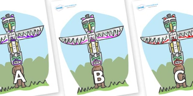 A-Z Alphabet on Totem Poles - A-Z, A4, display, Alphabet frieze, Display letters, Letter posters, A-Z letters, Alphabet flashcards