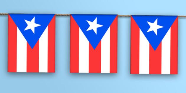 Puerto Rico Flag Bunting - puerto rico flag, flag, display bunting, display, bunting, puerto rico