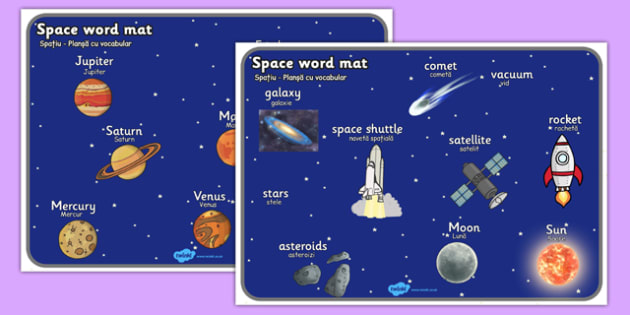 Space Word Mat Romanian Translation - romanian, Space, word mat, writing aid, topic words, moon, sun, earth, mars, ship, rocket, alien, launch, stars, planet, planets