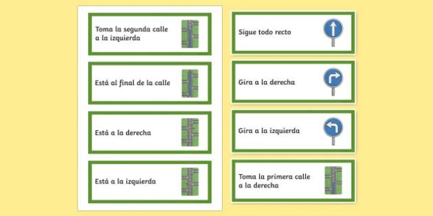 Directions Word Cards Spanish / Español