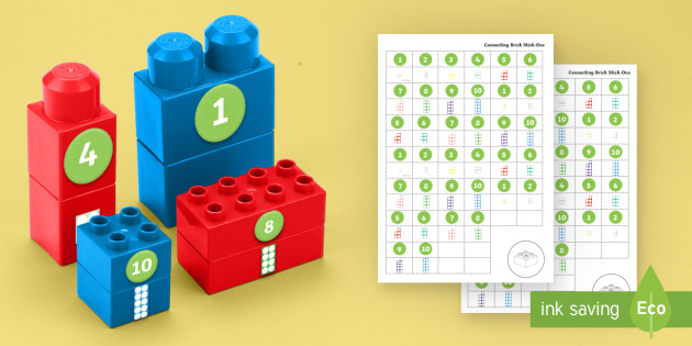 Numerals and Counting Number Shapes to Ten Matching Connecting Bricks Game