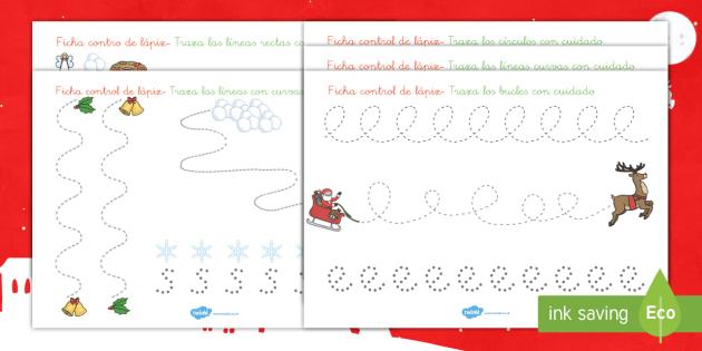 Fichas de motricidad fina.. trazo: La Navidad  - motricidad, grafomotricidad, grafia, control de lapiz, motor, motriz, navideño, navidad, Spanish