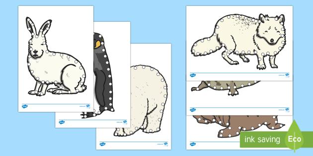 Polar Animals Lacing Cards - The Arctic, Polar Regions, north pole, south pole, explorers, threading, fine motor control, walrus,