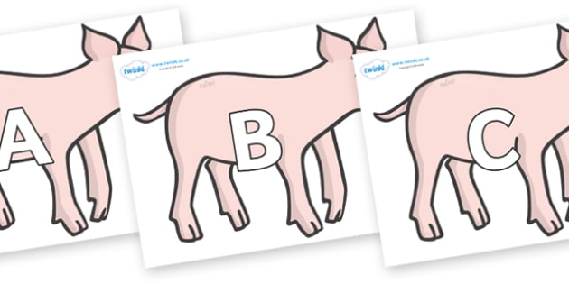 A-Z Alphabet on Piglets - A-Z, A4, display, Alphabet frieze, Display letters, Letter posters, A-Z letters, Alphabet flashcards