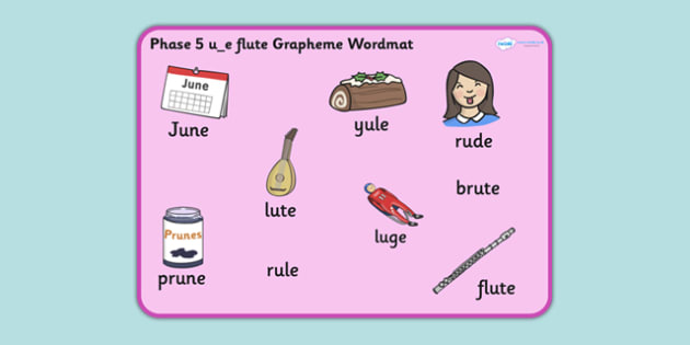 Phase 5 u_e Flute Grapheme Word Mat - phase five, graphemes