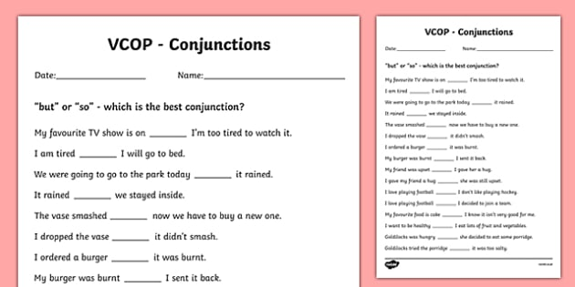 'But' and 'So' Conjunctions Activity Sheet - Connectives, Conjunctions