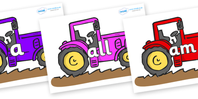 Foundation Stage 2 Keywords on Tractors - FS2, CLL, keywords, Communication language and literacy,  Display, Key words, high frequency words, foundation stage literacy, DfES Letters and Sounds, Letters and Sounds, spelling